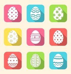 flat icon of Easter ornate eggs long shadow style vector image