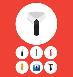flat icon tie set of suit textile necktie and vector image