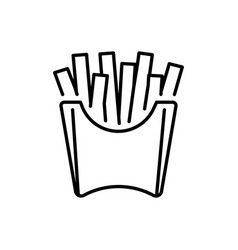 French fries in paper cup thin line icon isolated vector