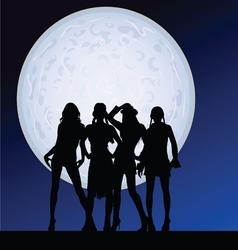 Girl sexy on moonlight vector