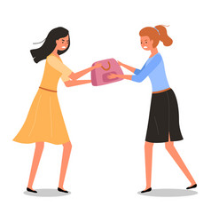 Girls are fighting over bag woman vector