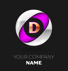 golden letter d logo in the silver-purple circle vector image
