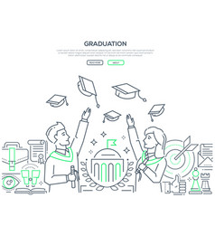 Graduation - colorful line design style web banner vector