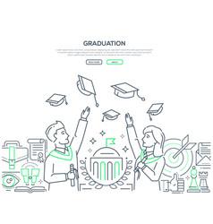 Graduation - colorful line design style web banner vector