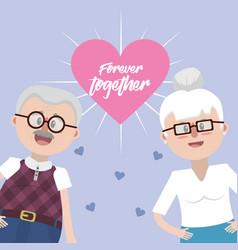 Grandparents together with glasses and hairstyle vector