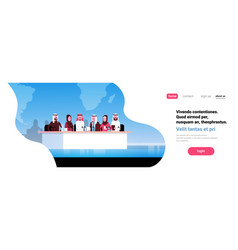 group arab business people conference meeting vector image