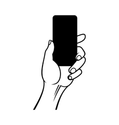 Hand Holding Smart Phone on White Background vector image