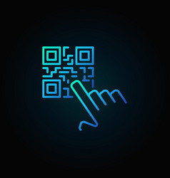 Hand pointing qr code blue concept icon or vector