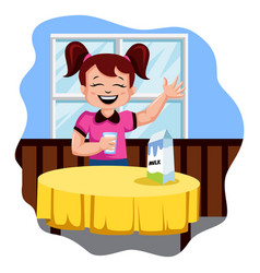 happy girl drinking milk on white background vector image