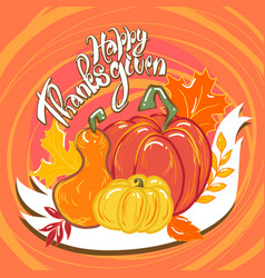 happy thanksgiving food concept background hand vector image