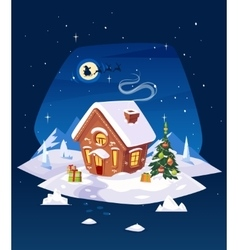 House in the forest Christmas card poster or vector