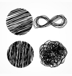 Ink pen scribbles hand drawn set vector