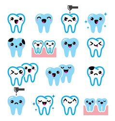 Kawaii Tooth cute teeth characters - icon vector image