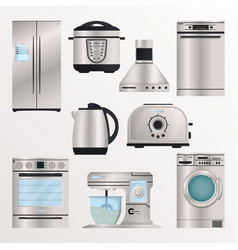 kitchen electronic appliances icon set vector image