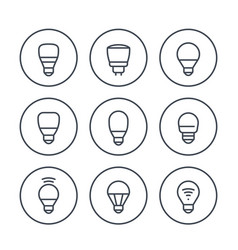 led light bulbs icons set on white vector image