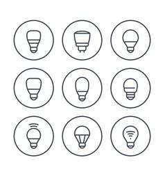 Led light bulbs icons set on white vector