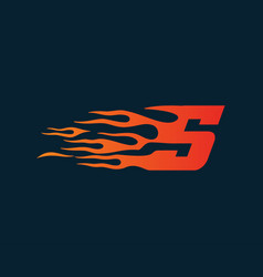 Letter s flame logo speed logo design concept vector