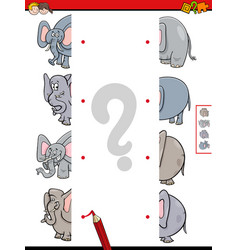 Match halves of elephant educational game vector