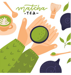 Matcha green tea wooden spoon and whisk green vector