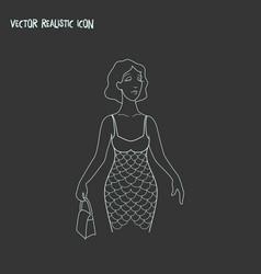 mermaid icon line element of vector image