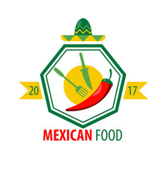 mexican food logo design with kitchen cutlery and vector image