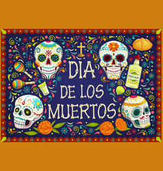 Mexican holiday flowers dia de los muertos skulls vector