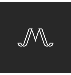Monogram letter M logo simple hipster minimal vector