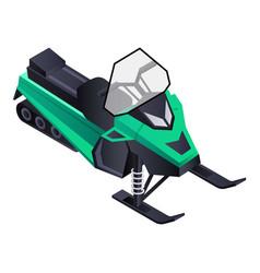 Mountain snowmobile icon isometric style vector