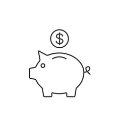 Piggy bank outline icon vector