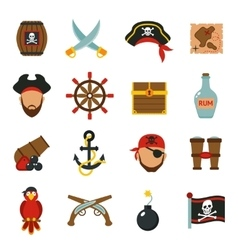 Pirate icons set flat vector