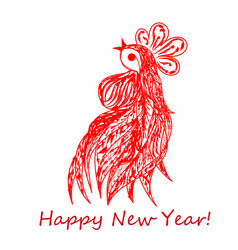 Postcard with red cock vector