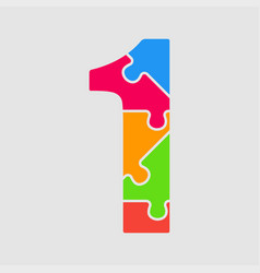 puzzle jigsaw figure or number - 1 gigsaw vector image