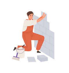 repair worker laying ceramic wall tile vector image