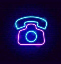 retro phone neon sign vector image