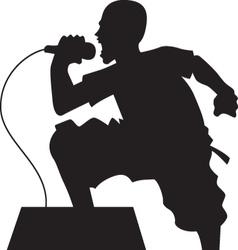 rock singer silhouette vector image