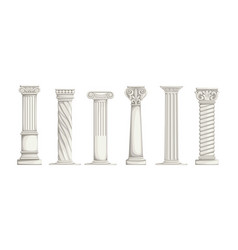 Roman pillars white ancient greek marble columns vector