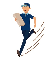 Running man with postal box Courier with parcel vector