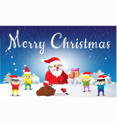 santa claus and childen merry christmas vector image