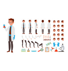 Scientist man animated character creation vector