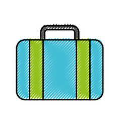 Scribble blue suitcase cartoon vector