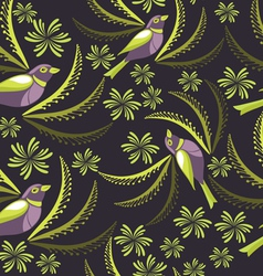 Seamless pattern with birds hand-drawing vector image