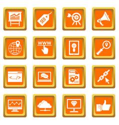 seo icons set orange vector image