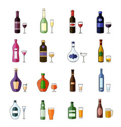 set of flat alcohol drinks icons vector image