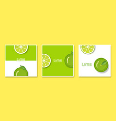 Set of fruit banners with lime in paper art style vector