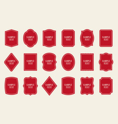 Set of red label templates different shapes vector