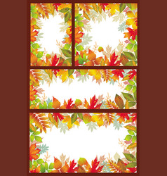 set of seasonal banner of autumnal leaves vector image