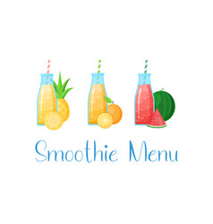 set smoothie banner vitamin drink vector image