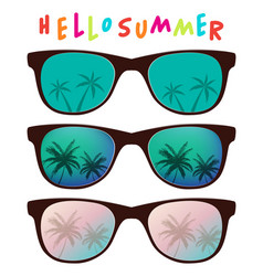 Set sunglasses with palm tree reflection vector