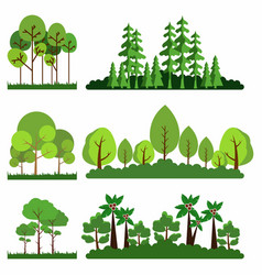 Set trees background collection premium vector