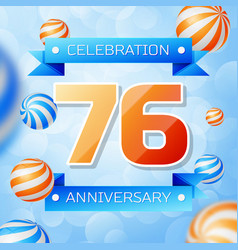 Seventy six years anniversary celebration design vector
